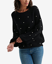 Lucky Brand Embroidered Polka Dot Sweater