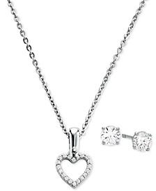 """Sterling Silver Cubic Zirconia Open Heart Pendant Necklace & Stud Earrings Set, 16"""" + 2"""" extender"""