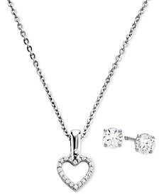"Michael Kors Sterling Silver Cubic Zirconia Open Heart Pendant Necklace & Stud Earrings Set, 16"" + 2"" extender"