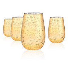 Artland Gold Rustica 16 oz. Stemless Glass, Set of 4