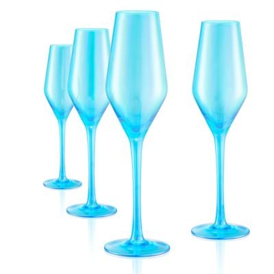 Set of 4 10oz Luster Turquoise Flutes