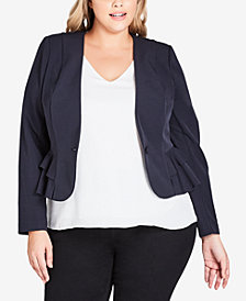 City Chic Trendy Plus Size Frilled Blazer