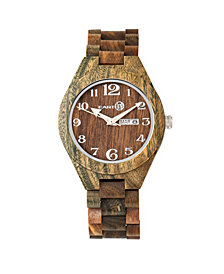 Earth Wood Sapwood Wood Bracelet Watch W/Date Olive 41Mm