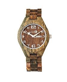 Earth Wood Sapwood Wood Bracelet Watch W/Date Olive 41Mm