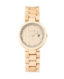 Earth Wood Stomates Wood Bracelet Watch W/Date Khaki 40Mm