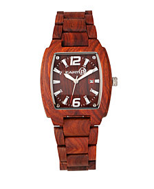 Earth Wood Sagano Wood Bracelet Watch W/Date Red 42Mm