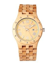 Earth Wood Inyo Wood Bracelet Watch W/Date Khaki 46Mm
