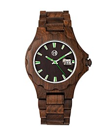 Gila Wood Bracelet Watch W/Magnified Date Brown 43Mm