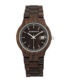 Earth Wood Biscayne Wood Bracelet Watch W/Date Brown 38Mm