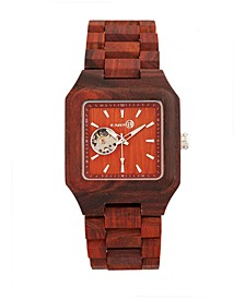 Black Rock Automatic Wood Bracelet Watch Red 42Mm