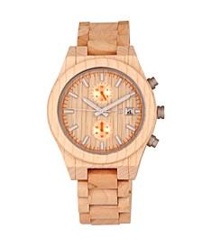 Castillo Wood Bracelet Watch W/Date Khaki 45Mm