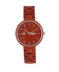 Earth Wood Mimosa Wood Bracelet Watch W/Day/Date Red 39Mm