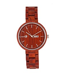 Earth Wood Mimosa Wood Bracelet Watch W/Day/Date Red 39Mm