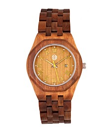 Earth Wood Baobab Wood Bracelet Watch W/Date Olive 46Mm