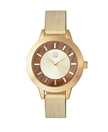 Earth Wood Autumn Watch Gold/Khaki-Tan 38Mm