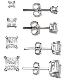 4-Pc. Set Cubic Zirconia Princess Stud Earrings in Sterling Silver, Created for Macy's