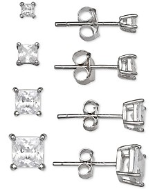 Giani Bernini 4-Pc. Set Cubic Zirconia Princess Stud Earrings in Sterling Silver, Created for Macy's