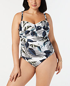 La Blanca Plus Size Moment Of Zen Bandeau One-Piece Swimsuit