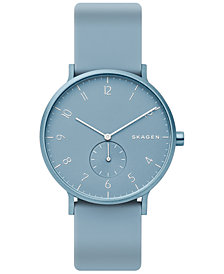 Skagen Unisex Aaren Aluminum Light Blue Silicone Strap Watch 41mm Created for Macy's
