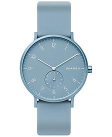 Skagen Unisex Aaren Aluminum Light Blue Silicone Strap Watch 41mm Created for Macy's