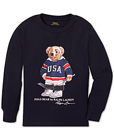 Polo Ralph Lauren Little Boys Hockey Bear Long-Sleeve Cotton T-Shirt