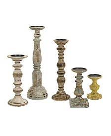 Imax Kanan Wood Candleholders with Distressed Finish - Set of 5