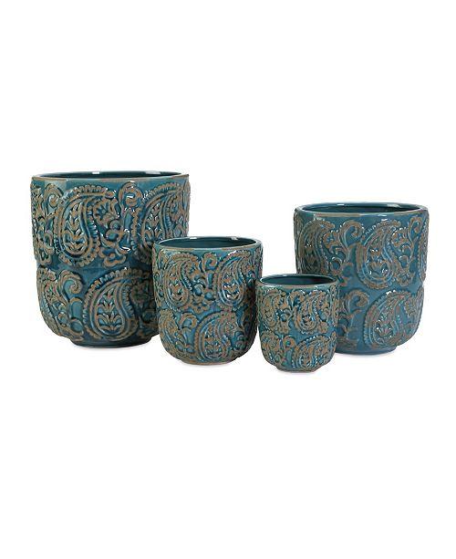 IMAX Paisley Blue Planters - Set of 4