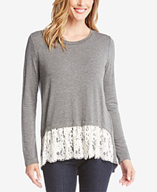 Karen Kane High-Low Lace-Hem Top