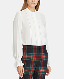 Lauren Ralph Lauren Lace-Trim Georgette Shirt