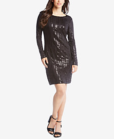 Karen Kane Sequin-Embellished Long-Sleeve Sheath