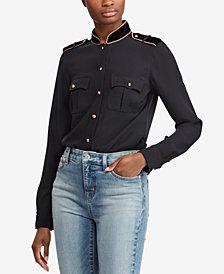 Lauren Ralph Lauren Velvet-Trim Military-Inspired Shirt