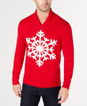 Men's Vintage Sweaters – 1920s to 1960s Retro Jumpers Club Room Mens Shawl-Collar Snowflake Sweater Created for Macys $29.99 AT vintagedancer.com