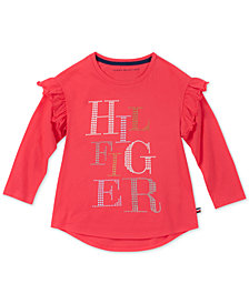 Tommy Hilfiger Big Girls Ruffle-Trim Cotton T-Shirt