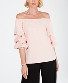 MSK Puff-Sleeve Floral-Rhinestone Off-The-Shoulder Top