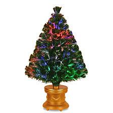 "National Tree 36"" Fiber Optic Fireworks Evergreen Tree"
