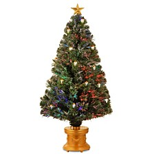 "National Tree 48"" Fiber Optic Fireworks Tree with Gold Lanterns"