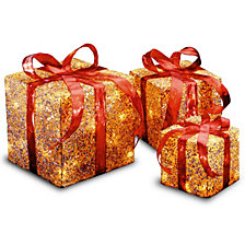 National Tree PreLit Gold Sisal Gift Box Assortment