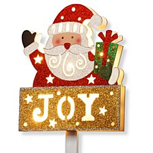 "National Tree PreLit 35"" Santa with JOY Sign"