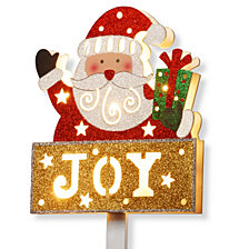 "National Tree PreLit 35"" Santa with JOY Sign"