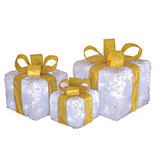 National Tree Company Pre-Lit White Gift Box Assortment