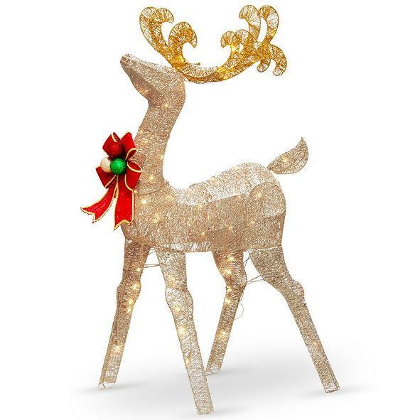 """National Tree Company National Tree 48"""" Reindeer Decoration with White LED Lights"""