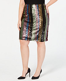 I.N.C. Plus Size Rainbow-Sequin Pencil Skirt, Created for Macy's