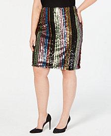 I.N.C. Plus Size Rainbow-Sequin Pencil Skirt, Created for Macy's