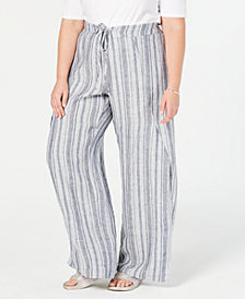 I.N.C. Plus Size Striped Linen-Blend Wide-Leg Pants, Created for Macy's