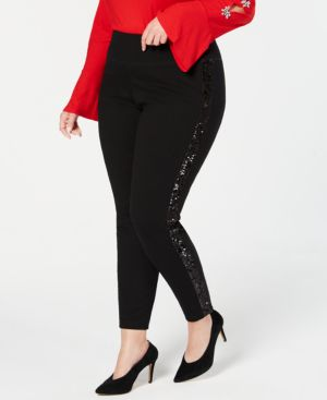 I.n.c. Plus Size Sequin-Varsity-Stripe Ponte-Knit Pants, Created for Macy's - Deep Black
