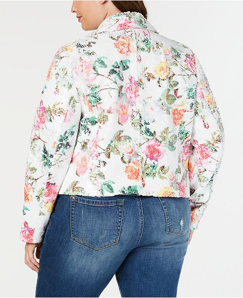 23e0c50a361 INC International Concepts I.N.C. Plus Size Floral-Print Sequin Moto Jacket