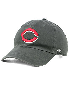 '47 Brand Boys' Cincinnati Reds Charcoal CLEAN UP Strapback Cap
