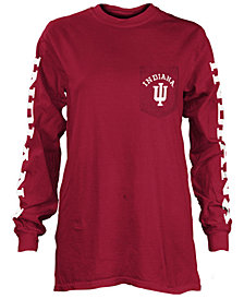 Pressbox Women's Indiana Hoosiers Long Sleeve Pocket T-Shirt