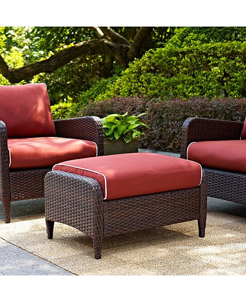 Crosley Kiawah Outdoor Wicker Ottoman With Sangria Cushions