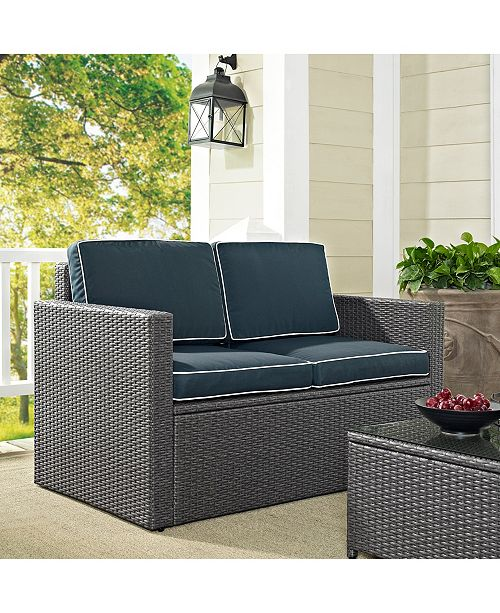 Crosley Palm Harbor Outdoor Loveseat In Wicker With Cushions